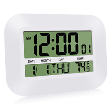 12 Inch Large LCD Alarm Clock Slim Digital Calendar Day Wall Battery Operated
