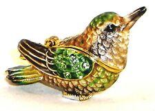 Chirping Hummingbird Pewter Bejeweled Hinged Miniature Trinket Box Kingspoint