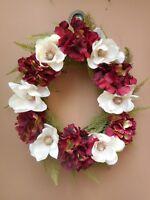 "18"" Fall Maroon Hydrangea Cream Magnolia Fuzzy Fern Grapevine Door Wreath"