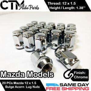 20 PCS MAZDA CHROME 12X1.5 WHEEL LUG NUT BULGE ACORN CONICAL SEAT FIT MAZDA CARS