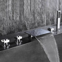 Modern Deck Mounted Waterfall Roman Tub Faucet with Handshower Chrome Finished