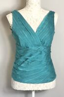 Monsoon Jade Green Silk Sleeveless V Neck & Back Top Smart Party Size 10