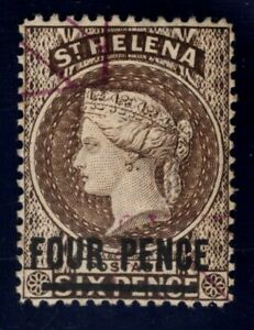 St Helena #38 used 4p on 6p brown 1890 overprint, cv $35 Queen Victoria, sm thin