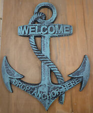 Nautical Cast Iron Ship Anchor Welcome Wall Plaque Ocean Beach Decor Large