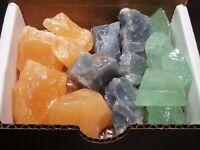 3 Calcite Collection 1/2 Lb Natural Blue Orange Green Mineral Specimens