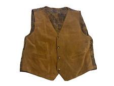 Vintage Mens Vera Pelle Vest 100% Viscose Coat Jacket Size S Brown
