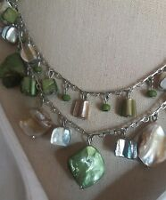 """Green Sea Shell Mother of Pearl Seed Bead Necklace 16""""-18"""" Beach Nautical Theme"""