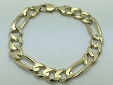 "10K Solid Yellow Gold Figaro Link Chain 9.25"" Bracelet 43.2 g, 12.7 mm Jewelry"