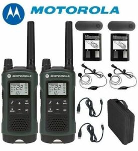 Motorola Talkabout T465 Walkie Talkie Set 35 Mile Two Way Radio (Earbuds+Case)