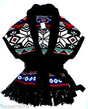 $398 RALPH LAUREN WOMEN INDIAN CARDIGAN SWEATER COAT AZTEC FRINGE COVER UP L