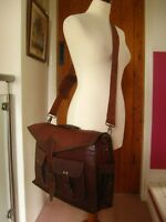HANDMADE real leather briefcase cross body messenger laptop bag satchel brown