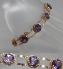 """Vintage Estate 14 Karat Rose Gold 28Ct Amethyst 8"""" Fancy Link Bracelet 14K J1110"""