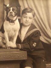 Antique Victorian Boston Terrier Dog Photo Sailor Boy Studio Adorable #1