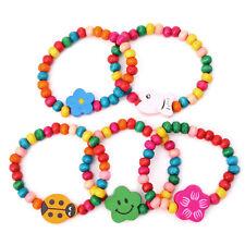 5Pcs Lovely Children Kid Wood Elastic Bead Bracelets Birthday Party Jewelry Gift