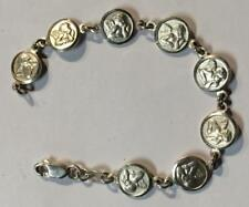 Vintage Sterling Silver Bracelet with Angels on Medallions.  Italy.