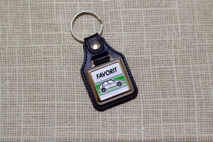 Skoda Favorit Keyring - Leatherette And Chrome Keyfob