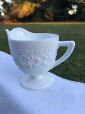 Floral Embossed White Milk Glass Creamer Pitcher