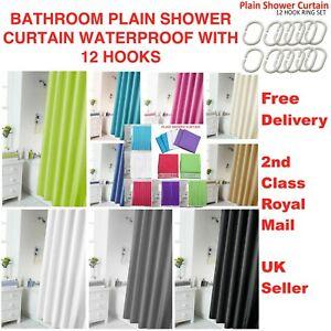 PLAIN BATHROOM SHOWER CURTAIN WATERPROOF LONG WITH 12 HOOKS RING SET UK SELL