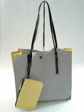 Botkier Jane Colorblock Sleek Tote Leather with Pouch Wristlet Grey Yellow $298