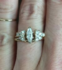 .48ct Marquise Round Diamond Solitaire Engagement Ring Wrap Guard Band Set 14K