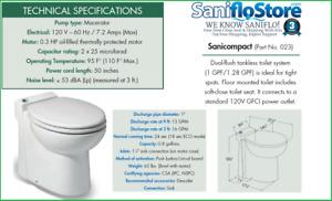 SANIFLO SANICOMPACT 48/C4, ONE PIECE UPFLUSH TOILET/MACERATOR 3 YR WARRANTY