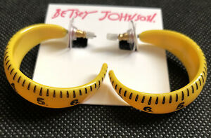 Betsey Johnson Back To School Gold Tone and Yellow Ruler Open Hoop Earrings NWT