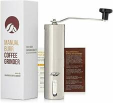 Manual Coffee Grinder Conical Burr Mill Brushed Stainless Steel Tea 6