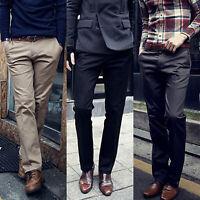 Mens Slim Fit Formal Business Work Dress Pants Straight Jeans Slacks Trousers