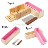 Silicone Soap Mold Wooden Box Loaf Cake Maker Cutting Cutter Making Tool  D*//