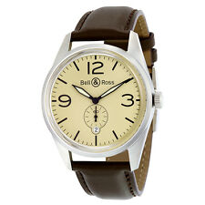 Bell and Ross Vintage Automatic Beige Dial Brown Leather Mens Watch