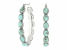 Lucky BRAND JLRU7173 Silver-tone and Faux Turquoise Hoop Earrings