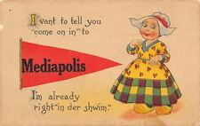 """""""Come on In"""" to Mediapolis Iowa~I'm in the Swim!~1914 Pennant Postcard"""