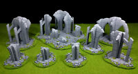 8pc ruins set warhammer Wargame Terrain Scenery 28 mm Lot de décors ruines