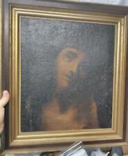 Antique Old Jesus Christ Religious Oil Painting Portrait Religion Christian Art