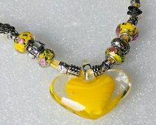 Yellow Heart Lampwork Glass Murano Pendant Necklace Ribbon Cord 16 piece beads