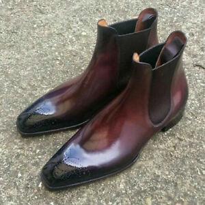 New Handmade Men's Dark burgundy Leather Chelsea boots, Men elegant ankle boots