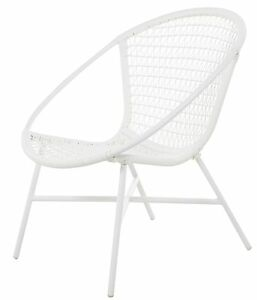 Outdoor Poly Wicker Chair - white - Mid Century Modern - Retro Style