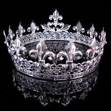 Men's Imperial Medieval Fleur De Lis Silver King Crown 8.5cm High 18cm Diameter