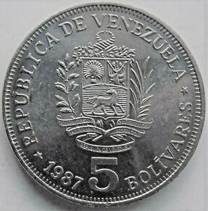 1987 VENEZUELA, 5 Bolivas KM.53, grading UNCIRCULATED.