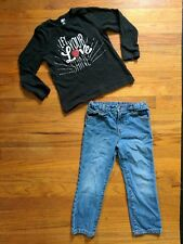 Girls Sz 5 Outfit: Crazy 8 Black Long Sleeve Glitter T-shirt & Faded Glory Jeans