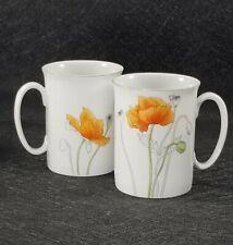 2 Vintage Block Spal Poppy Mugs Watercolors By Mary Lou Goertzen Portugal