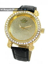 mens diamond gold clubbing ice out case watch black leather dlx Gift Box Maxx