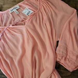 Jessica Simpson Maternity Top  L Large Crepe Coral Peach NEW NWT