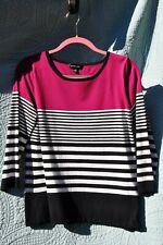 Spense Womens Black & White Striped 3/4 Sleeve Magenta Top L
