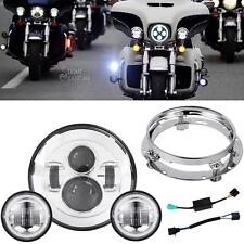 """7"""" LED Daymaker Headlight Passing Lights For Harley Electra Glide Ultra Classic"""
