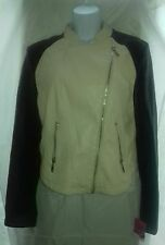 BNWT Faux Leather size 14 bike style jacket cream body and black arms. FAST POST