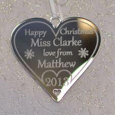 Personalised Teacher Christmas Gifts Tree Decoration Heart Bauble Keepsake Child