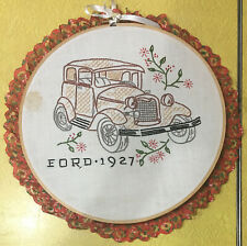 Vintage Framed Needlework Ford 1927 Car Cross Stitch Embroidery Wall Home Decor