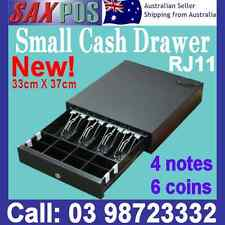 New SAXPOS 330C Small Cashdrawer Black, 4 Bills, 6 Coins RJ11 12V