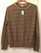 Mens GAP Beige and Black Striped Cotton Jumper Size Small - BNWT